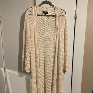 Lane Bryant beige crocheted duster